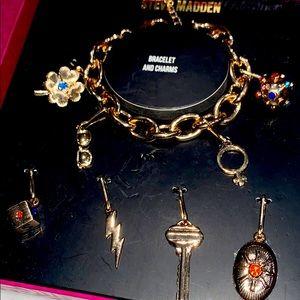 Steve Madden gold charm bracelets & charms